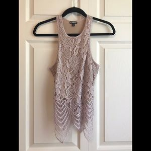 EXPRESS Nude & Blush Pink Floral Crochet Lace Tank